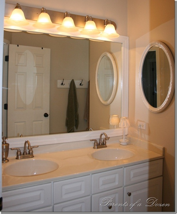 Parents Of A Dozen: How To Frame A Bathroom Mirror