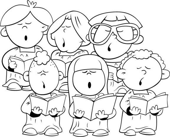 Dibujos De Niños Cantando Para Colorear
