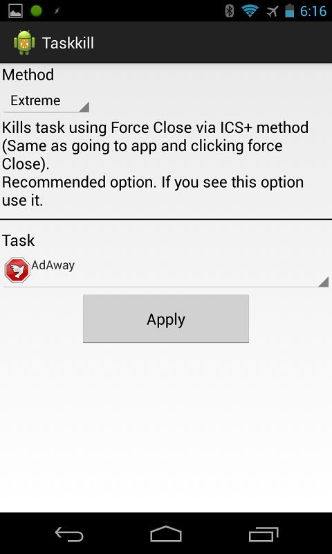 TaskKill Tasker Plugin [Root] - screenshot