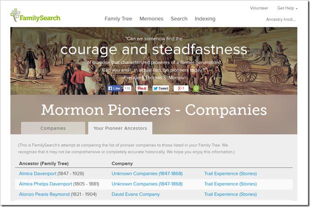 Mormon先驱和公司的FamilySearch.org页面