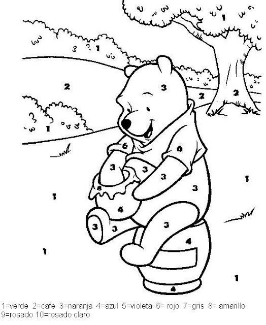 Dibujos Con Numeros Para Colorear A Winnie Pooh