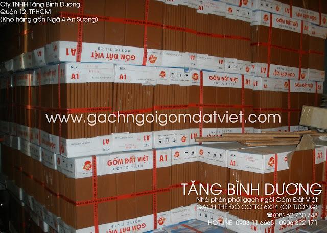 Gạch thẻ đỏ cotto 6x24 cm ốp tường Gốm Đất Việt