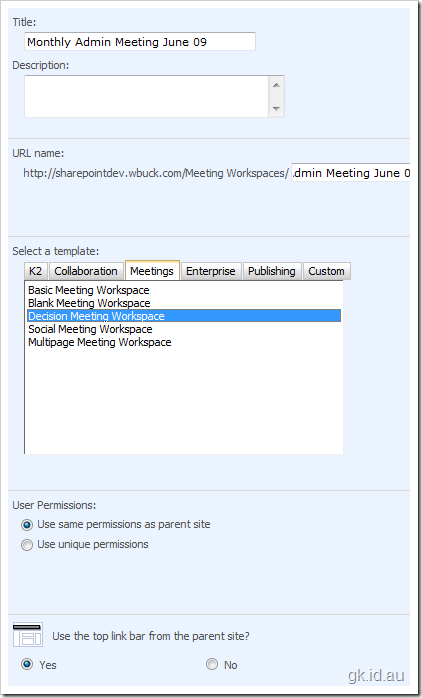 SharePoint Meeting Workspace Templates