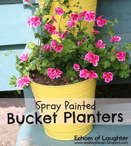 54 Spray Painted Bucket Planters