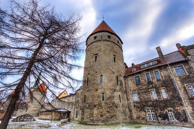 medieval city walls and tower tallinn estonia