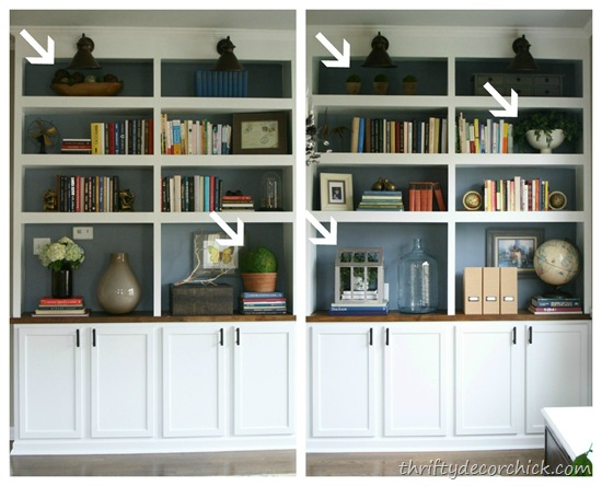 DIY bookcases made with cabinets
