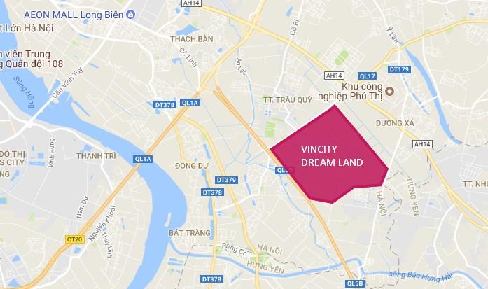 Vị trí dự án vincity dream land gia lâm