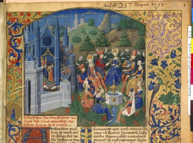 Decameró. Epidèmia de pesta a Florència (1348) i la brigata explicant-se contes (París, Bibliothèque National de France, ms. Français 129, fol. 1, detall; Mestre de l'Echevinage, 1465?-1470?) (font: BNF-Banque d'images)