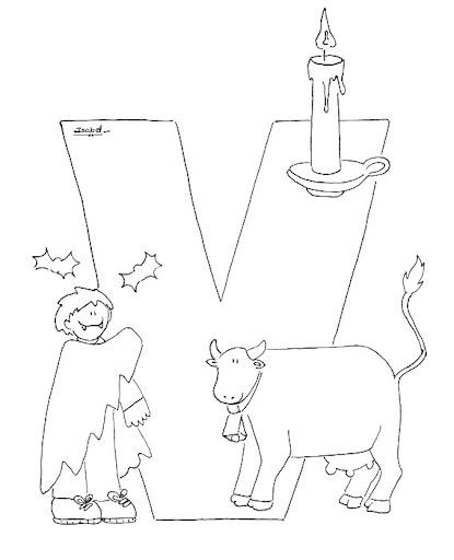 V Abecedario Profesiones Dibujalia Dibujos Para Colorear