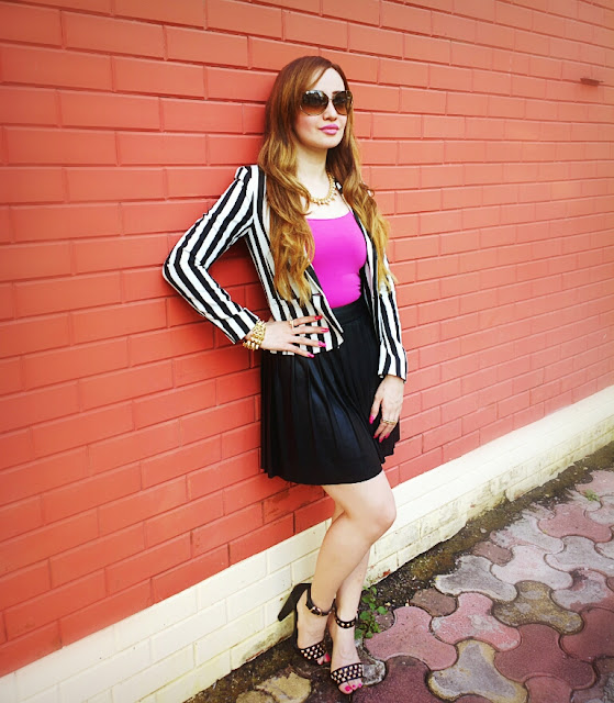 Forever 21 Leather Skater Skirt & H&M Striped Blazer