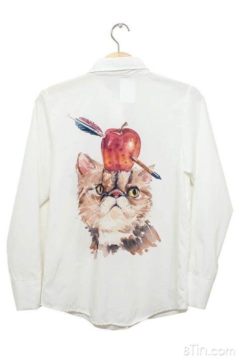 Áo sơ mi Thái hình mèo PRICE SALE ONLY 180K ✔ Dễ