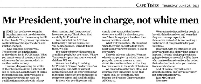 ZUMA YOU ARE IN CHARGE NOT WHITE MEN CAPE TIMES JUNE 28 2012
