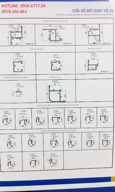Mặt cắt nhôm Xingfa cửa sổ mở quay hệ 55