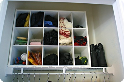 shoe organizer for glove storage