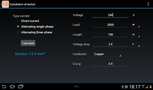 Electrical calculations - screenshot thumbnail