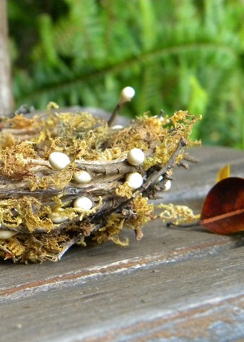 Learn how to make a moss nest with paper mache for fall