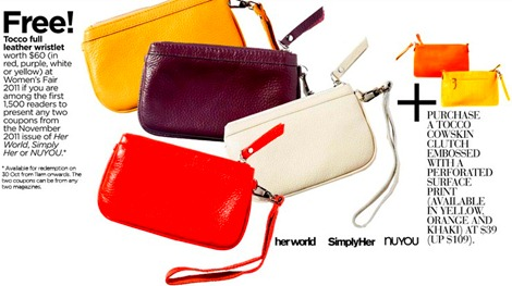 Tocco Leather Wristlet Her World NUYOU Simply Her Womens Fair Marina Suqare 2011