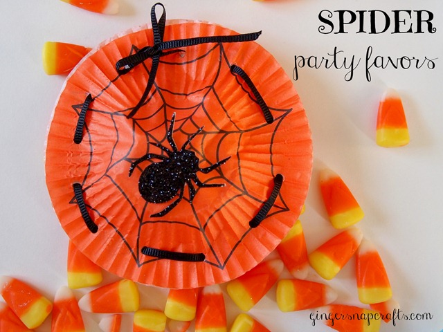 spider party favors made with cupcake liners from Ginger Snap Crafts