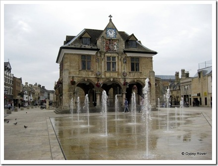The new pavement fountains in Cathedral Square, Peterborough.