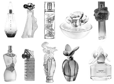 Frascos de perfumes femininos