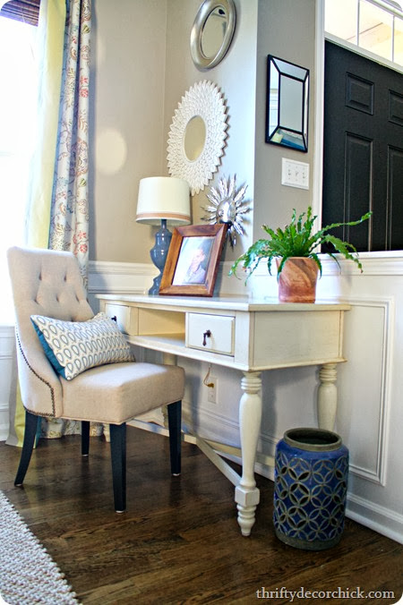 hiding the cords ick from thrifty decor chick. Black Bedroom Furniture Sets. Home Design Ideas