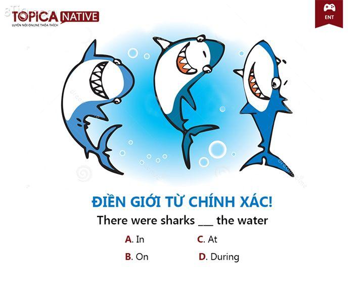 ĐIỀN GIỚI TỪ CHÍNH XÁC! There were sharks ___ the water A.