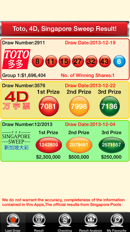 TOTO, 4D Lottery Live Free - screenshot