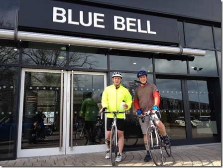 L-R Blue Bell Crewe MINI Sales Executive Will Willis and Blue Bell MINI Wilmslow Local Business Development Executive Marcus Hoyle gear up the London to Paris cycle ride