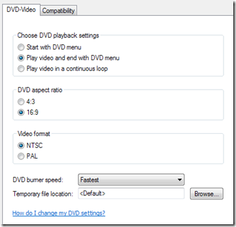 Change the DVD options before burning