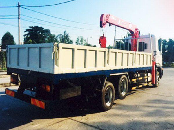 Thùng lửng xe Daewoo 3 chân gắn cẩu 5 tấn