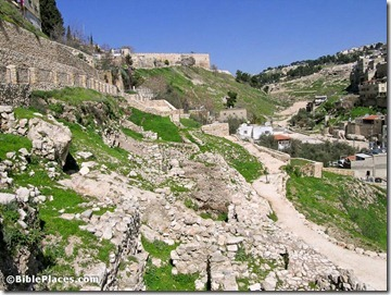 City of David Area E excavations from south, tb022705709