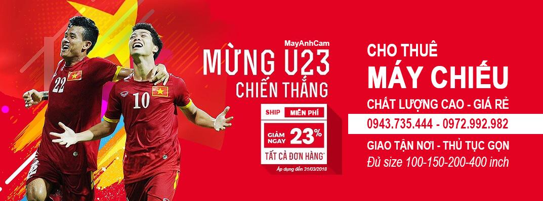 Cho thuê máy chiếu phục vụ các giải đấu bóng đá của đội tuyển U23 Việt Nam.