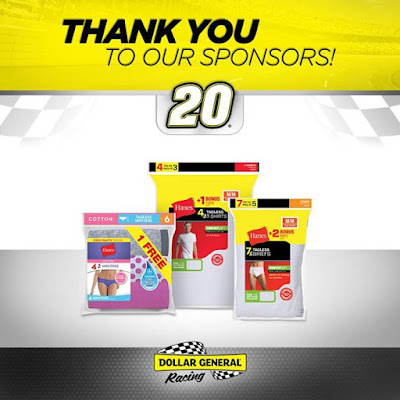 Support Dollar General Racing sponsors and save on great products from Hanes and more