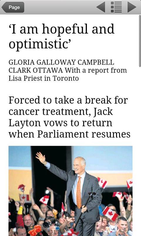 The Globe and Mail's Globe2Go- screenshot