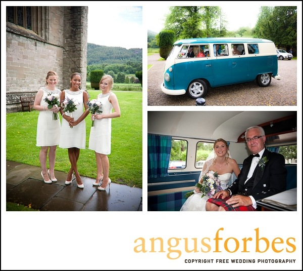 vw campervan at wedding Scottish wedding Photographer dunkeld_003