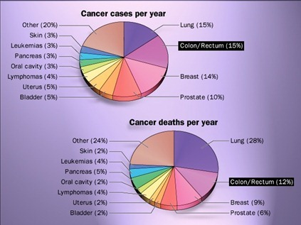Cancer cases & death per year-colon