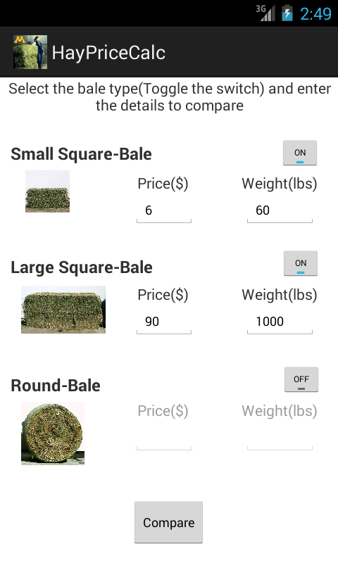 Hay Price Calc - screenshot