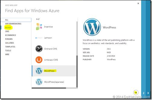 Word press blog created from windows microsoft azure