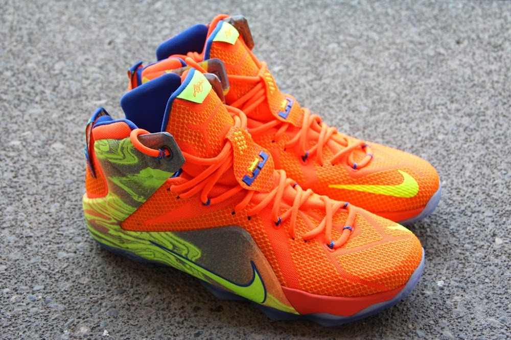 best website ee258 c5d4e discount a detailed look at the orange volt nike lebron 12 8220nerf8221  600c2 3ad1e