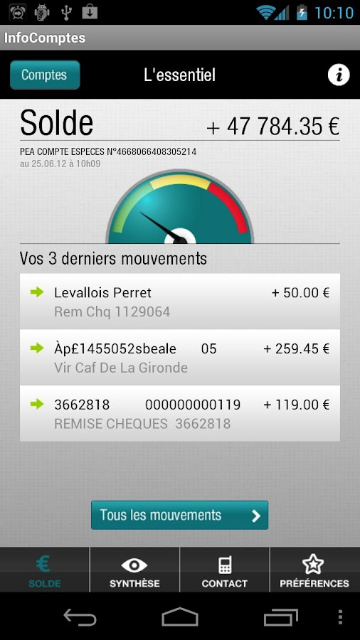 InfoComptes - screenshot