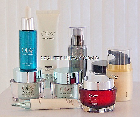 Olay White radiance essence,protecive cream night restoring cream Regenerist microsculpting cream serum OlayTotal effects Maggie Cheung Olay Ambassador Carrie Underwood Thandie Newton Capella Hotel P&G Beauty Debate