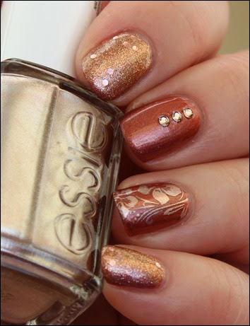 Autumn Nail Art Herbst Nageldesign Mix Match Skittle Copper 08