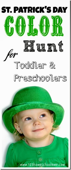 St. patrick's Day Color Hunt Kids Activity for Toddler and Preschoolers