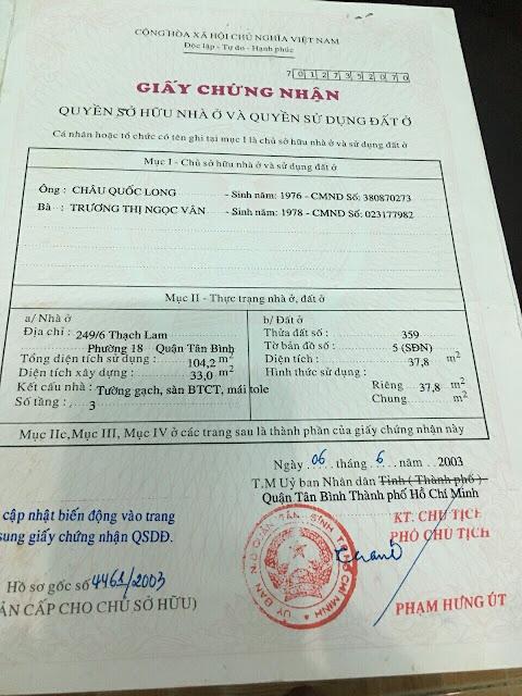 Bán nhà hẻm ô tô đường Thạch Lam Quận Tân Phú