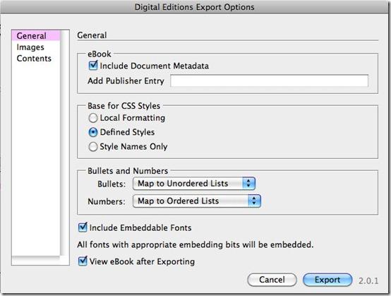 Primera pestaña de la exportación a ePub de InDesign