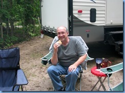 7176 Restoule Provincial Park - Kettle Point Campground - Bill eating a s'more @ Peter and Janette's campsite #494