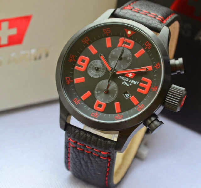 Jual jam tangan  Swiss Army SA2087M black leather original