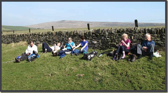 Lunch near Torgate Farm, with a Shining Tor backdrop