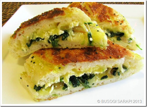 TOASTED TURKISH BREAD WITH SPINACH, FETA & MELTED CHEESE© BUSOG! SARAP! 2013