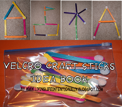 Velcro Craft Sticks Kids Activity with free printable idea book